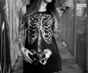 b&w, girl, and Tattoos image