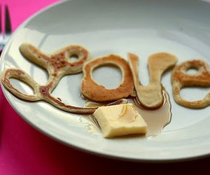 love, pancakes, and food image