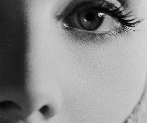 black and white, eyes, and face image