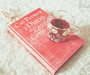 book, pink, and tea image
