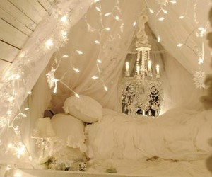 lights, snowflakes, and bedroom image
