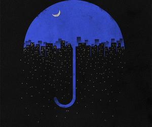 city, night, and umbrella image
