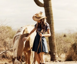horse, girl, and cactus image