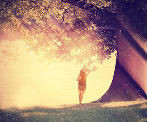 girl, tree, and sun image