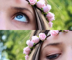 photography, eye, and flowers image
