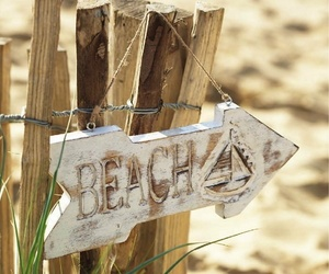 beach, summer, and sign image