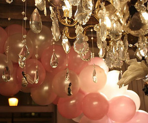 balloons, pink, and chandelier image