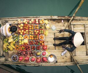 fruit, boat, and asia image
