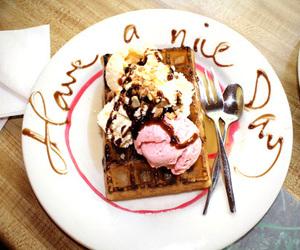 food, ice cream, and waffles image