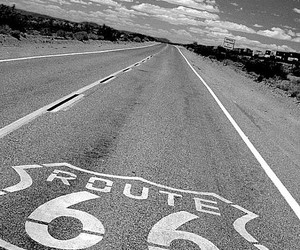 black and white, route 66, and love image