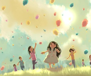 balloons, child, and art image