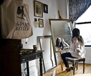 girl, mirror, and paris image