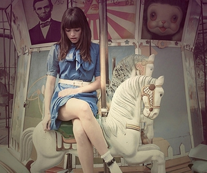 girl, carousel, and horse image