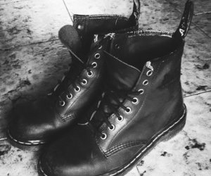 black and white, dr martens, and docs image