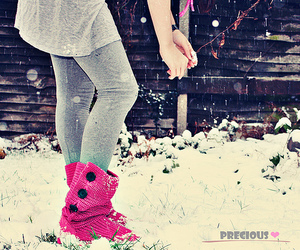 girl, snow, and pink image