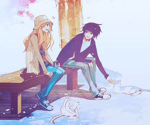 anime, couple, and cat image