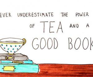 book, tea, and quote image