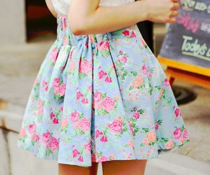 fashion, skirt, and flowers image