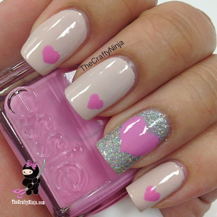 Nails, Makeup, And You Can\'t Forget The Hair / Pink Heart Nails