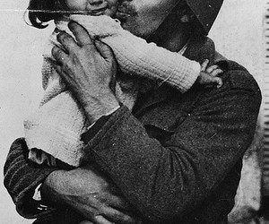 girl, little, and kissing image
