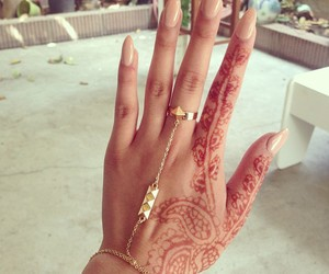 nails, henna, and hand image