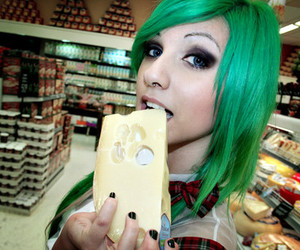 cheese, green hair, and lindsay woods image