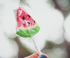 candy, watermelon, and lollipop image
