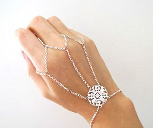 bracelet, hand, and silver image