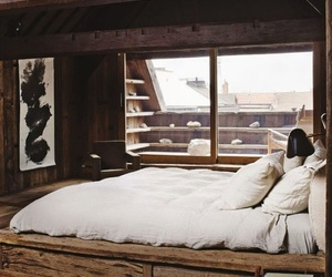 bed, bedroom, and wood image