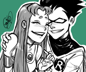 teen titans, robin, and starfire image