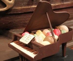 chocolate, piano, and macaroons image