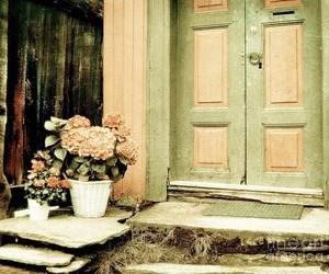 window, flowers, and house image
