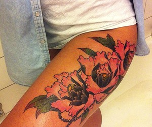 flowers, tattoo, and diamond image