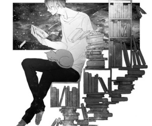 black and white, books, and outer space image
