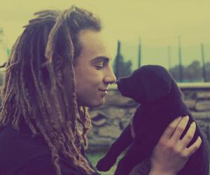 dog, boy, and dreads image