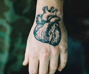 heart, tattoo, and hand image