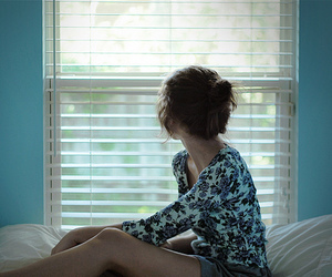 girl, window, and blue image