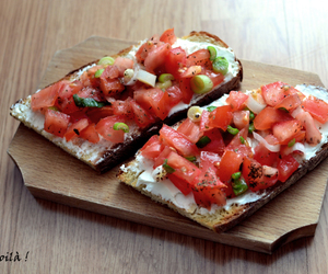 bruschetta, cheese, and delicious image