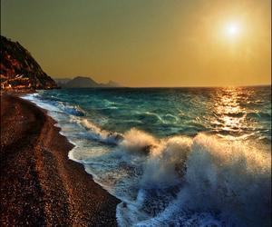 sun, beach, and waves image