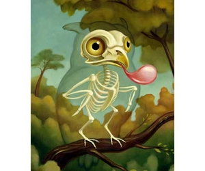 bird, bubble gum, and owl image