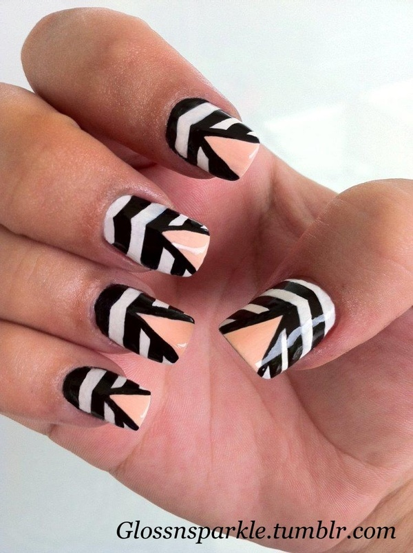 Nails Eyeshadow At Their Ultimate Black And White Stripped