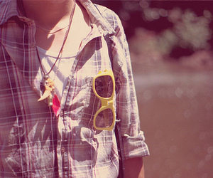 accessory, flannel, and sunglasses image