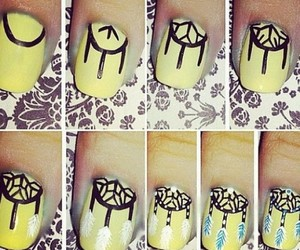 nails, dreamcatcher, and yellow image