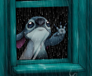 stitch, rain, and disney image