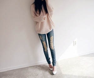 legs, ripped jeans, and skinny image