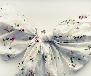 bow, floral, and ribbon image