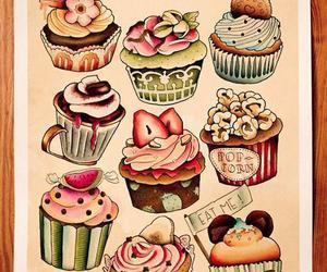 cupcake, sweet, and drawing image