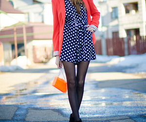 black shoes, black tights, and blazer image