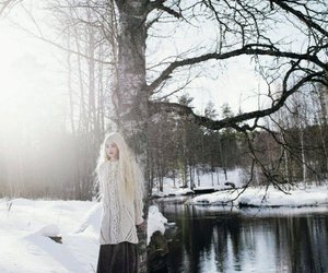 winter, blonde, and model image