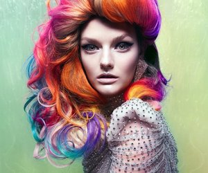 hair, rainbow, and model image
